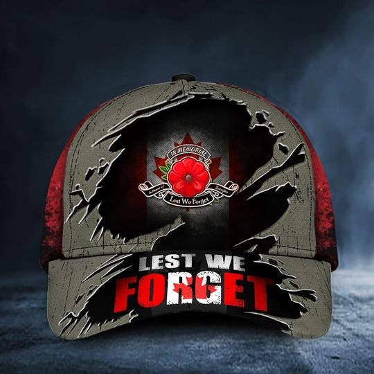 Lest We Forget Poppy Canada Flag Remembrance Day Hat 1