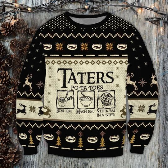 Lord of the Rings Taters Potatoes ugly christmas sweater 1