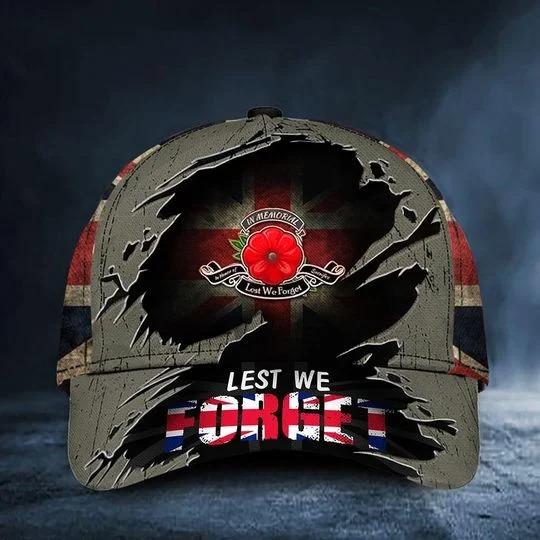Poppy Remembrance United Kingdom UK Lets we forget cap hat 1