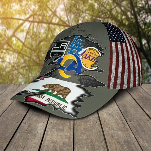 California Republic flag Los Angeles Dodgers LA Kings LA Lakers LA Rams cap hat 3