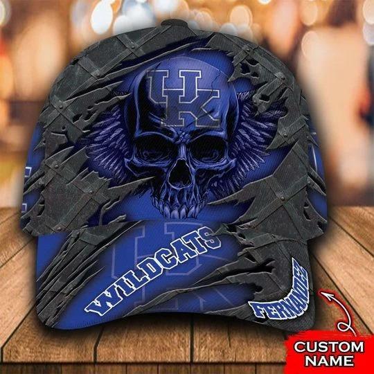 Kentucky Wildcats skull custom personalized cap hat 1