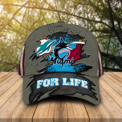 Miami Dolphins Miami Marlins Miami Heat For Life cap hat 1