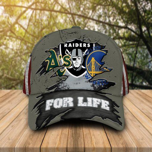 Oakland Athletics Oakland Raiders GS Warriors For Life cap hat 1