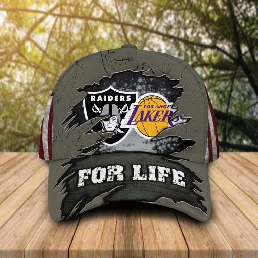 Oakland Raiders Los Angeles Lakers For Life cap hat 1