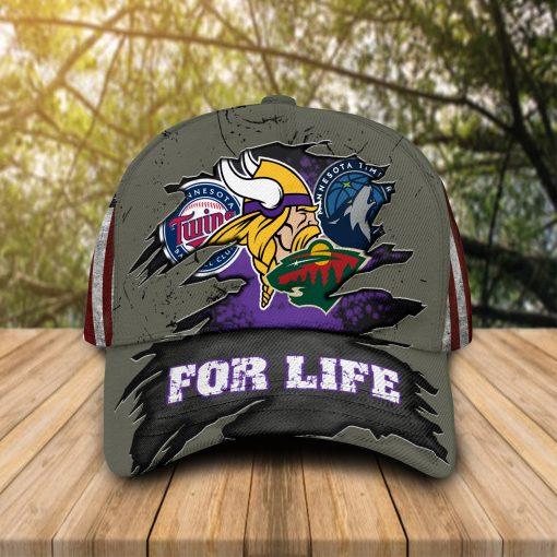 Minnesota Vikings Twins Timberwolves Wild For Life cap hat 1