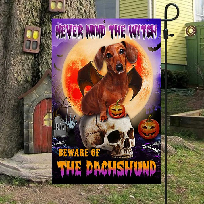 Skull Halloween Pumpkin Never Mind The Witch Beware Of The Dachshund Flag3