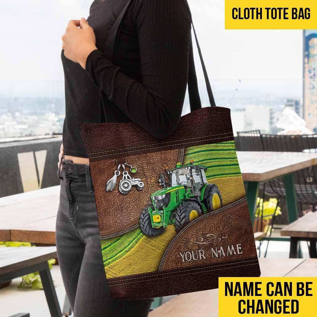 Green Tractor Custom Name Tote Bag1