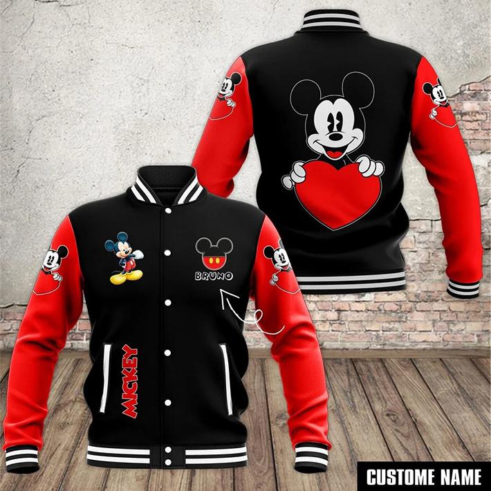 Mickey Mouse With Heart Custom Name Baseball Jacket
