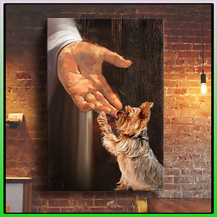 Jesus With Yorkshire Terrier In The Hand Of God Canvas 1