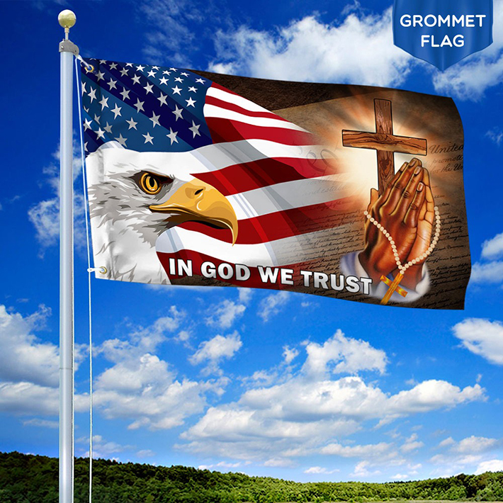 American Eagle In God We Trust Flag