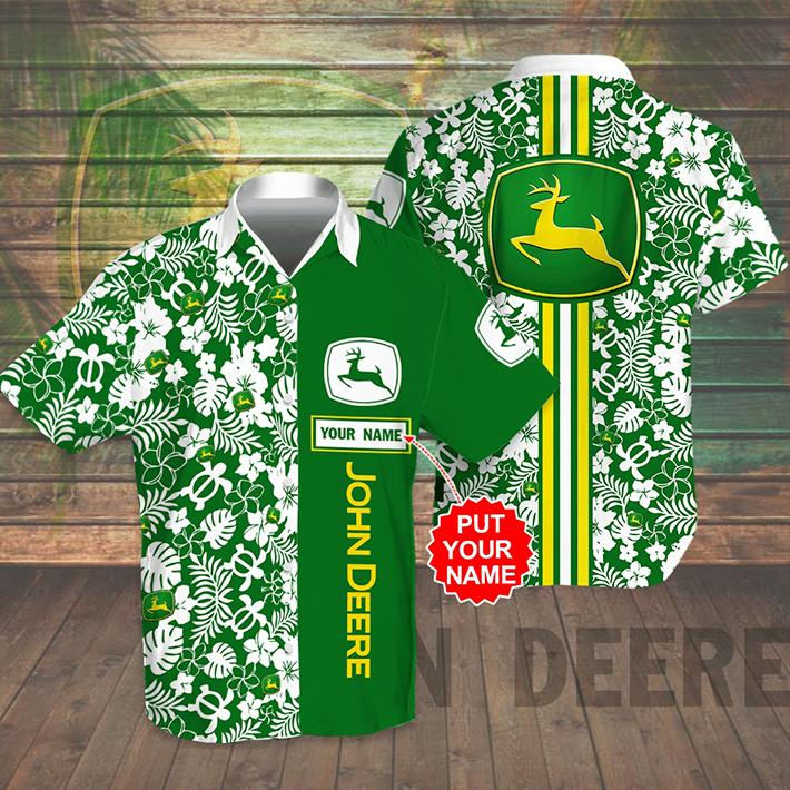 John Deere Logo Custom Name Hawaiian Shirt Short