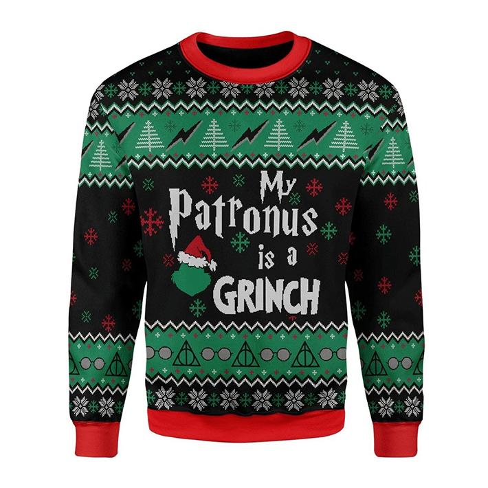 My Patronus Is A Santa Grinch Ugly Christmas Sweatshirt