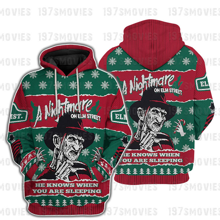 Freggy Krueger Horror A Nightmare He Knows When You Are Sleeping 3d Hoodie Shirt